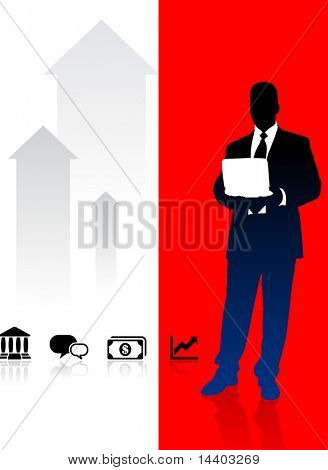 Businessman on Red and White Arrow Background Original Illustration