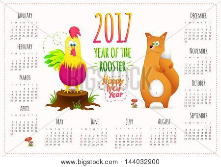 Calendar 2017. Cute design with cartoon fox and Rooster symbol New Year. Vector illustration.