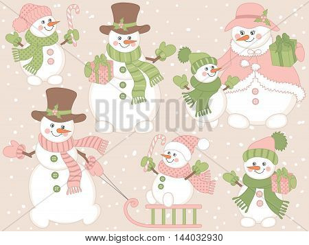 Vector Christmas snowmen set with gift boxes, candy stick, snow and sledge