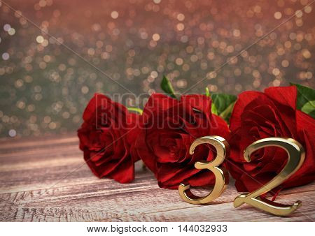 birthday concept with red roses on wooden desk. 3D render - thirty-second birthday. 32nd