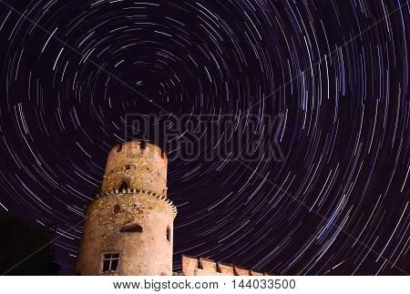 star trail in the night sky crop