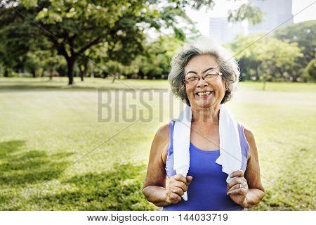 Senior Woman Exercise Park Outdoors Concept