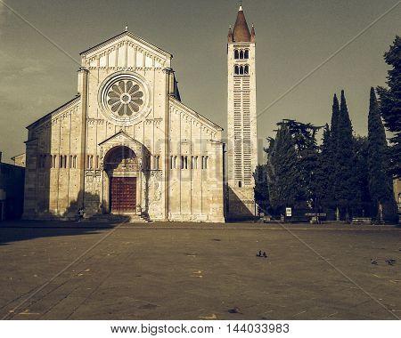 Vintage desaturated Basilica di San Zeno (aka San Zeno Maggiore or San Zenone) in Verona Italy