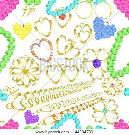 Seamless Pattern Of Gold Jewelry Rings, Necklaces, Catkins, Amulets, Pendants. Vector Illustration