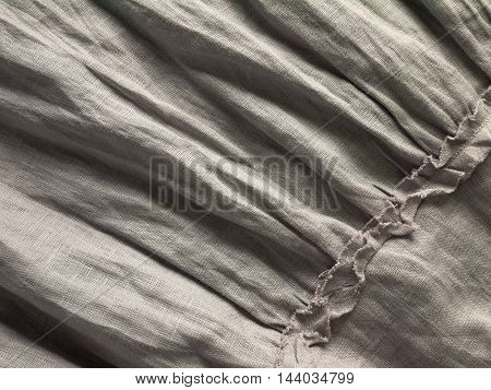 Crinkled gray natural linen fabric with ruches
