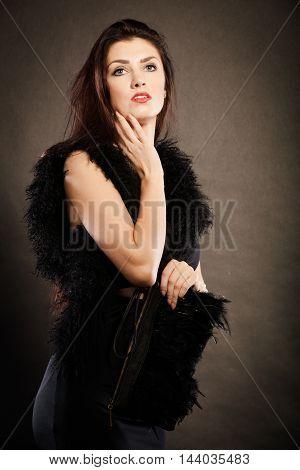 Woman Evening Dress Handbag In Hand On Black