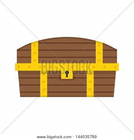 Wooden Chest isolated on white background. Vector illustration.