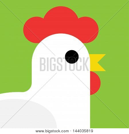 cartoon rooster isolated isolated on white background. vector illustration.
