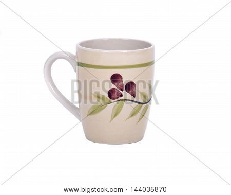 Single painted cup separated on white background