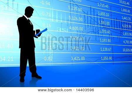 Businessman on Stock Market Background Original Illustration