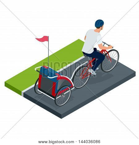 Flat 3d isometric high quality Bicycle with Kids Bike Trailer. Flat 3d illustration