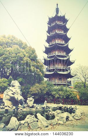 Ancient pagoda in Shanghai, China. Instagram style filtred image