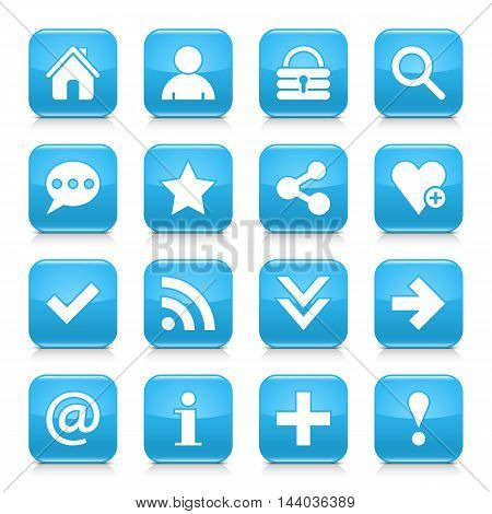 16 basic icon set 05. White sign on blue rounded square button with gray reflection black shadow on white background. Glossy style. Vector illustration web design element in 8 eps