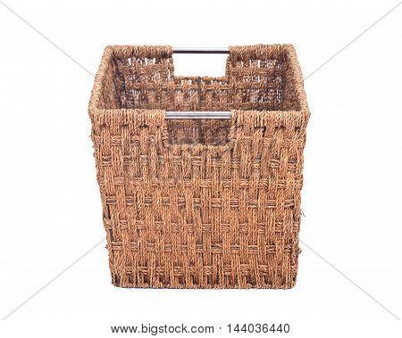 Vintage seagrass storage basket separated on white background
