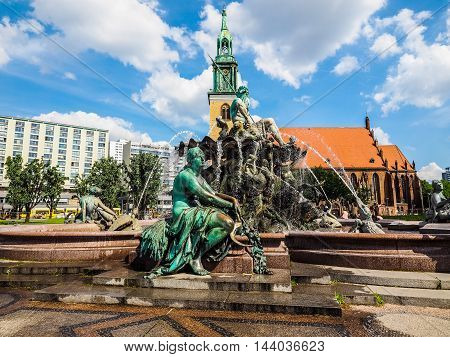 Neptunbrunnen Fountain In Berlin (hdr)