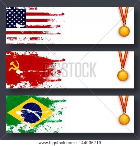 Creative Website Header or Banner set with United States of America, Soviet Union, Brazil Flags and Gold Medals for Sports concept.