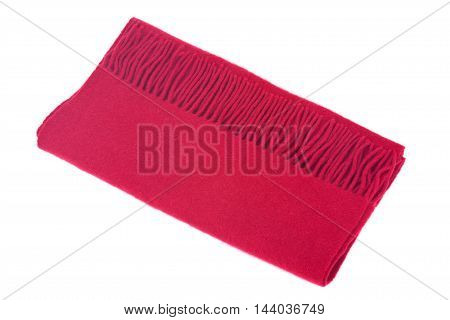 Red wool warm scarf separated on white background