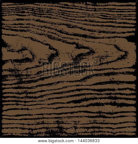 Brown and black wood texture background in square format. Realistic plank with annual years circles. Empty natural pattern swatch template. Vector illustration design elements save in 8 eps