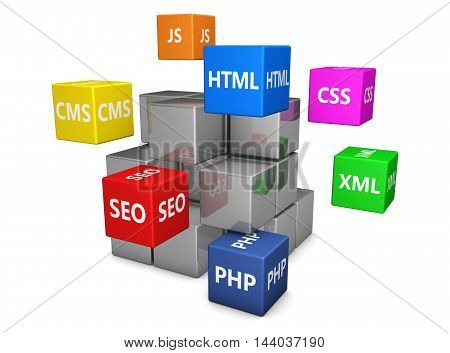 Web design Internet and digital media development concept with programming languages sign on colorful cubes 3d illustration.