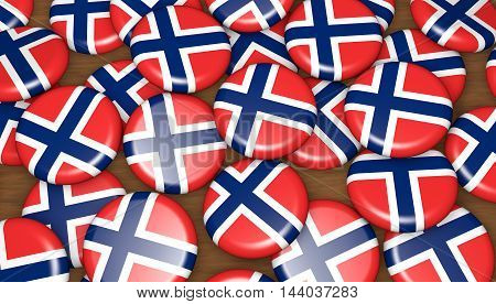 Norway flag on pin badges 3d illustration background for national Norwegian day events holiday and celebration.