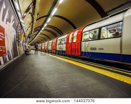Tube Train At Platform In London (hdr)