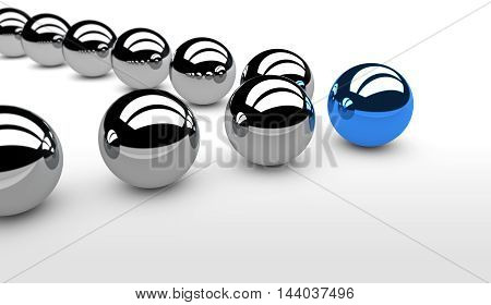 Business team leadership concept with a blue leader sphere and silver followers 3D illustration.