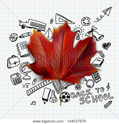 Back to school vector illustration with hand drawn school supplies doodles and red maple leaf