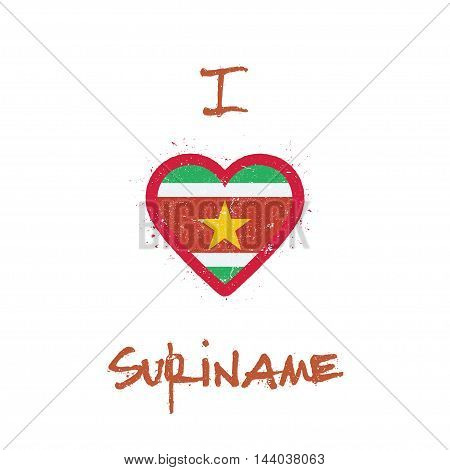 I Love Suriname T-shirt Design. Surinamer Flag In The Shape Of Heart On White Background. Grunge Vec