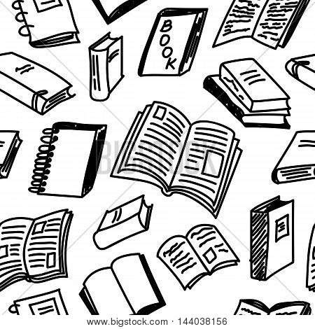 Books sketch seamless monochrome pattern in doodle style, vector illustration