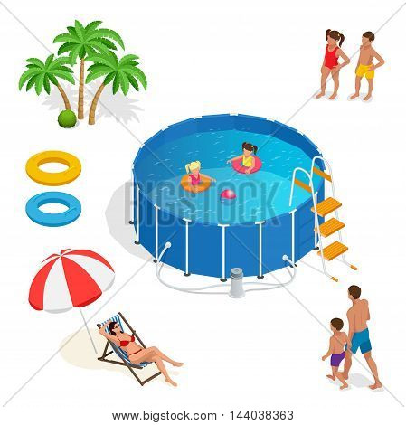 Two little girls deftly swim in pool, palms, girl and boy, father, mather, Summer vacation concept. Portable plastic swimming pool isometric 3d vector illustration