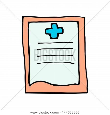 medical report icon isolated on white background in style hand draw