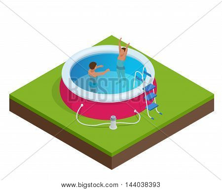 Two little boys deftly swim in pool. Summer vacation concept. Portable plastic swimming pool isometric 3d vector illustration