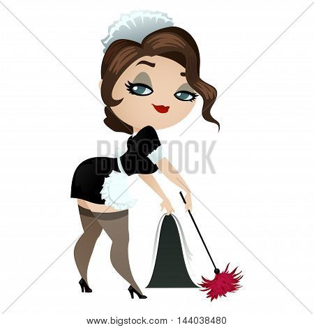 Cleaning lady with duster. Girl in uniform housemaids isolated on a white background. Vector illustration.