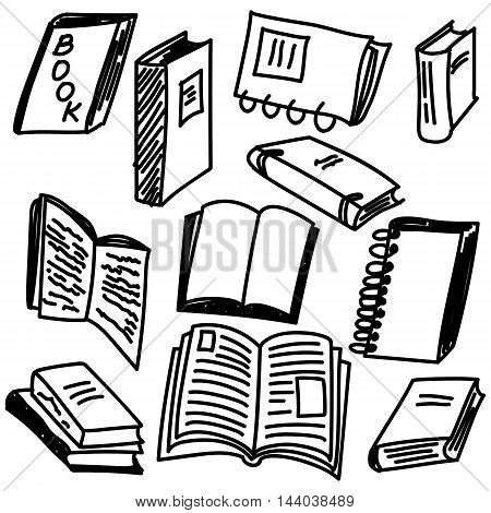 Books sketch collection in doodle style, vector illustration