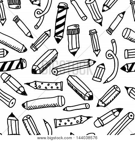 Pencils sketch collection in doodle style, vector illustration