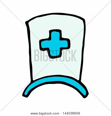 nurse cap icon isolated on white background in style hand draw