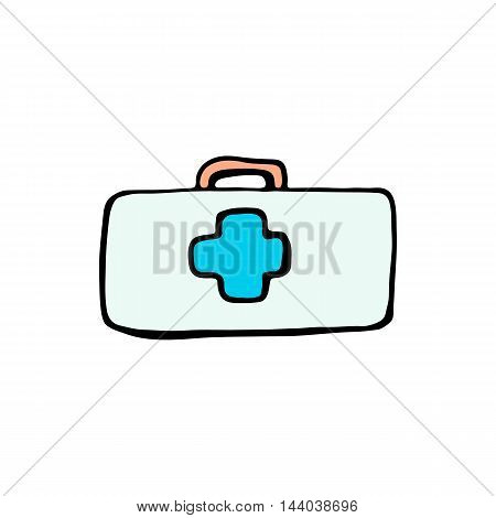 First aid kit box icon isolated on white background in style hand draw