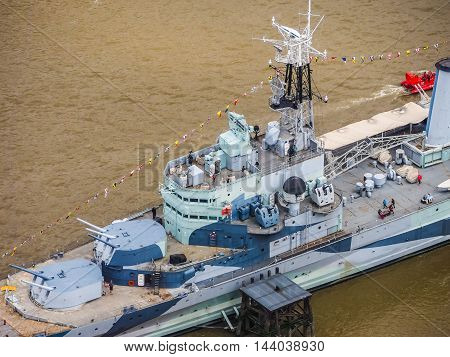 Hms Belfast In London (hdr)