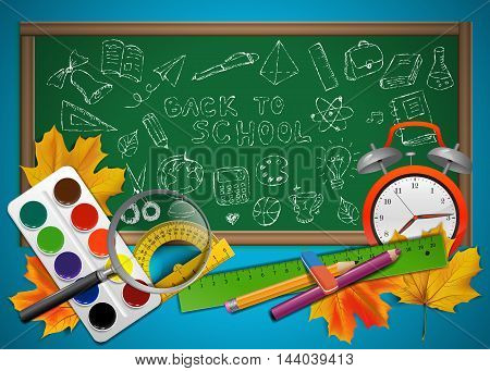 Back to school illustration with sketch school objects drawn on the blackboard