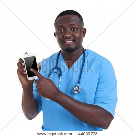 Professional African doctor with cellphone, isolated on white