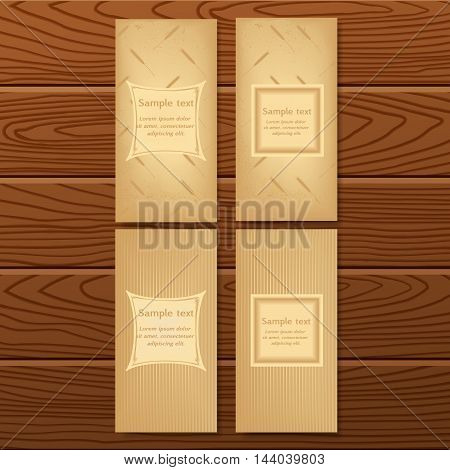 vector set of design booklets banners posters labels flyer on wooden texture. Frame for text on abstract background with a pattern of wheat ears. Illustration for healthy food bakery harvesting farm.