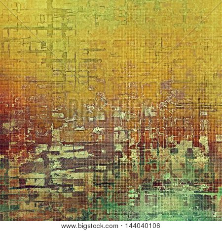 Rough textured backdrop, abstract vintage background with different color patterns: yellow (beige); brown; green; red (orange); pink