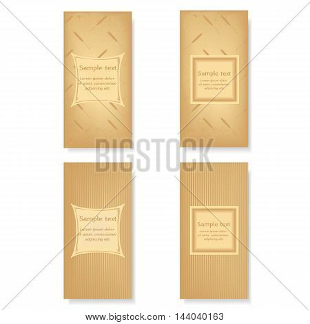 vector set of design booklets banners posters labels flyer. Frame for text on abstract background with a pattern of wheat ears. Illustration for healthy food bakery harvesting farm.