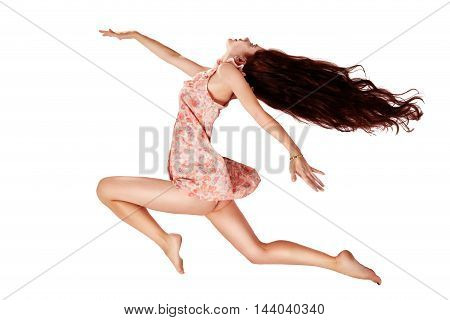 flying girl with long hair isolated on white background