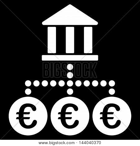 Euro Bank Transactions icon. Glyph style is flat iconic symbol, white color, black background.