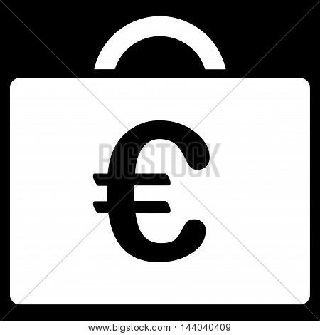Euro Bookkeeping Case icon. Glyph style is flat iconic symbol, white color, black background.
