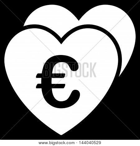 Euro Favorites Hearts icon. Glyph style is flat iconic symbol, white color, black background.