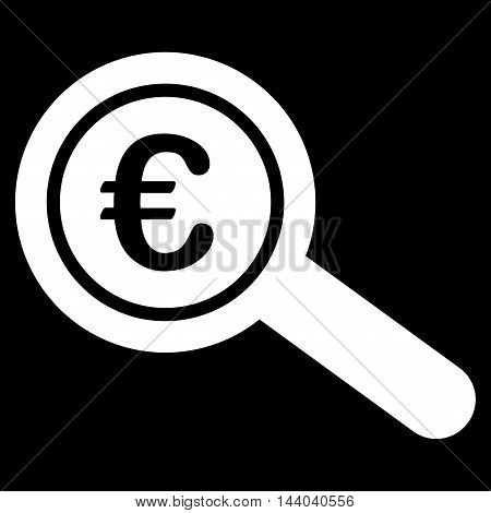 Euro Financial Audit icon. Glyph style is flat iconic symbol, white color, black background.