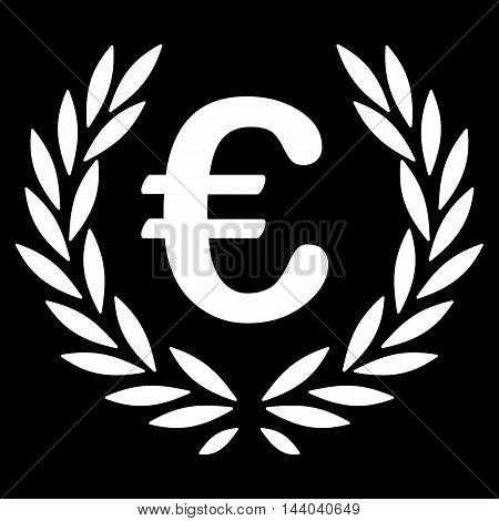 Euro Laurel Wreath icon. Glyph style is flat iconic symbol, white color, black background.