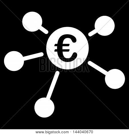 Euro Links icon. Glyph style is flat iconic symbol, white color, black background.